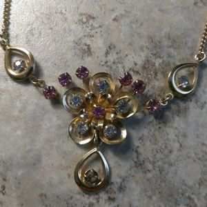 Jewelry - Goldtone Pink and Clear Crystal Necklace 17 inches